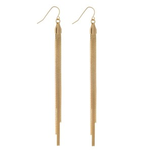 "Gold tone fishhook earrings with a snake chain tassel. Approximately 4.5"" in length."