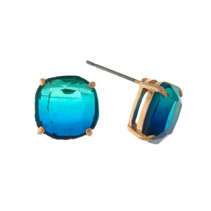 "Gold tone stud earrings with a blue to green ombre stone. Approximately 1/3"" in size."