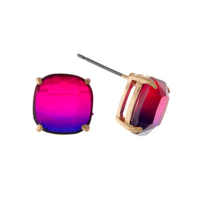 "Gold tone stud earrings with a purple to pink ombre stone. Approximately 1/3"" in size."