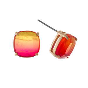 """Gold tone stud earrings with a red to orange ombre stone. Approximately 1/3"""" in size."""