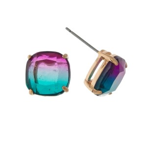 "Gold tone stud earrings with a purple to green ombre stone. Approximately 1/3"" in size."