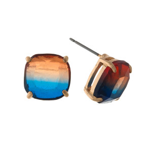 "Gold tone stud earrings with a blue to orange ombre stone. Approximately 1/3"" in size."