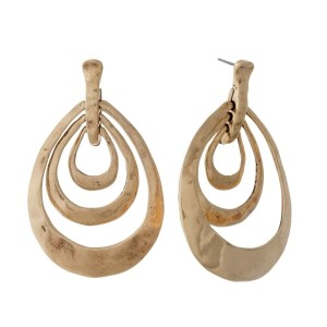 """Hammered stud earrings with open teardrop shapes. Approximately 2"""" in length."""