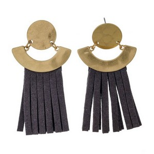 "Gold tone stud earrings with a circle shape and faux leather tassel. Approximately 2"" in length."