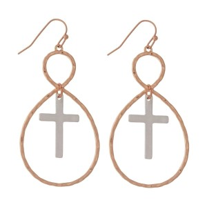 """Two tone, fishhook earrings with a twisted oval shape and a cross. Approximately 2.25"""" in length."""