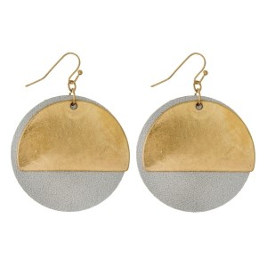 "Gold tone fishhook earrings with a burnished, half circle and faux leather accent. Approximately 1.5"" in diameter."
