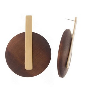 "Statement, post style earrings with a brushed metal bar and a wooden circle. Approximately 3"" in length."