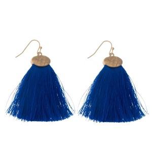 "Gold tone fishhook earrings with a royal blue threaded, fan tassel. Approximately 2"" in length."