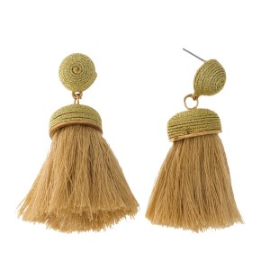 """Gold stud earrings with a thread tassel and gold tone accents. Approximately 2"""" in length."""