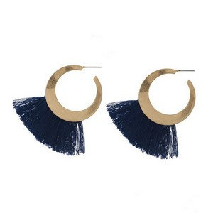 "Gold tone hoop earrings with a fanned thread tassel. Approximately 2"" in length."
