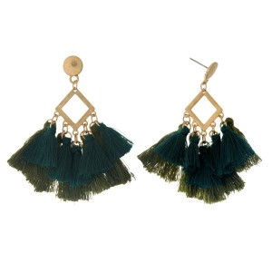 "Gold tone post style earrings with an open diamond shape and two tone thread tassels. Approximately 2.5"" in length."