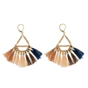 "Gold tone earrings with a beaded triangle shape and neutral thread tassels. Approximately 2.5"" in length."