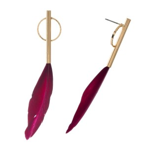 "Dainty gold tone post earrings with a feather. Approximately 3"" in length."