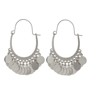 """Oval hoop earrings with circle charms. Approximately 2"""" in length."""