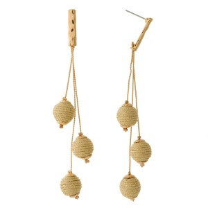 """Gold tone post style earrings with strands of thread wrapped beads. Approximately 4"""" in length."""