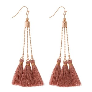 """Rose gold tone fishhook earrings with thread tassels. Approximately 4"""" in length."""