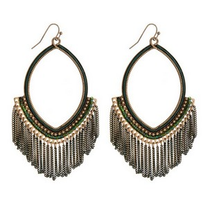 "Burnished gold tone fishhook earrings with an open oval shape and green chain fringe. Approximately 4"" in length."