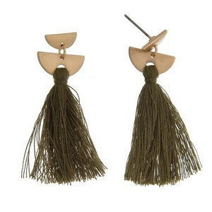 "Gold tone post earrings with a thread tassel. Approximately 1.75"" in length."
