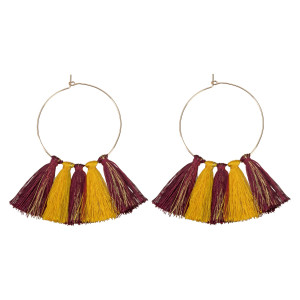 """Gold tone hoop earrings with gameday colored thread tassels. Approximately 3"""" in length."""