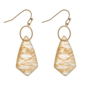 """Gold tone fishhook earrings with a geometric cut natural stone. Approximately 1.75"""" in length."""