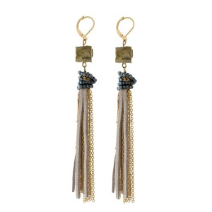 """Gold tone fishhook earrings with a natural stone, and a chain and faux suede tassel. Approximately 4.5"""" in length."""
