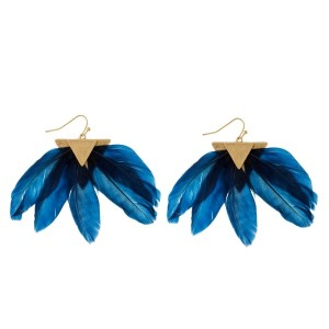 "Gold tone fishhook earrings with a triangle shape and fanned feathers. Approximately 2"" in length."