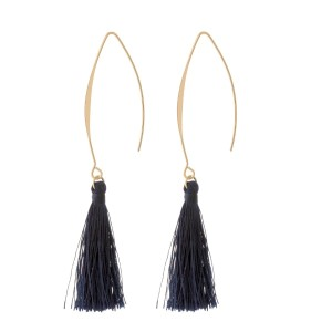 "Gold tone, long hook earrings with a thread tassel. Approximately 3"" in length."