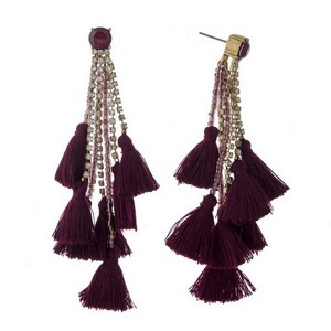 "Rhinestone stud earrings with chain and thread tassels. Approximately 3.5"" in length."