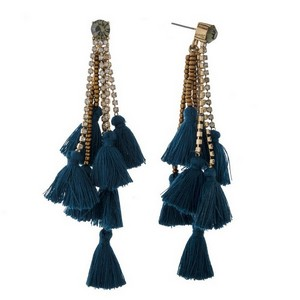 """Rhinestone stud earrings with chain and thread tassels. Approximately 3.5"""" in length."""