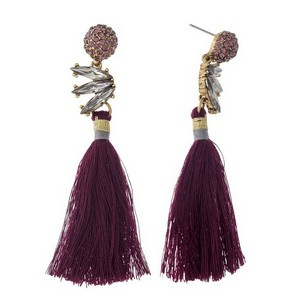 """Gold tone stud earrings with rhinestone accents and a thread tassel. Approximately 3.25"""" in length."""