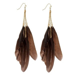 "Gold tone fishhook earrings with multiple feather statements. Approximately 6"" in length."