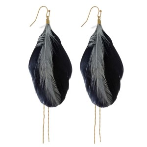 """Gold tone fishhook earrings with two tone feathers and a gold tone chain accent. Approximately 4"""" in length."""