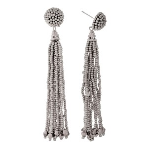 """Gold tone stud earrings with a beaded tassel. Approximately 3.25"""" in length."""