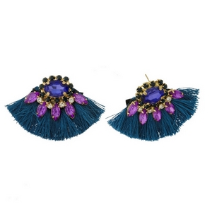 "Gold tone stud earrings with rhinestones and fanned thread tassels. Approximately 1.5"" in length."
