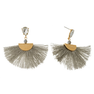 """Teardrop rhinestone, stud earrings with a fan tassel and gold tone accents. Approximately 2.5"""" in length."""
