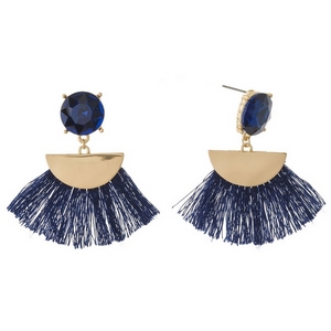 """Rhinestone stud earrings with gold tone accents and a fan tassel. Approximately 2"""" in length."""
