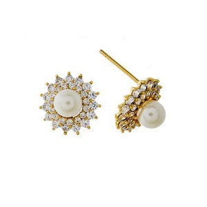 """Dainty pearl bead, stud earrings with pave, clear rhinestones. Approximately 1/2"""" in diameter."""