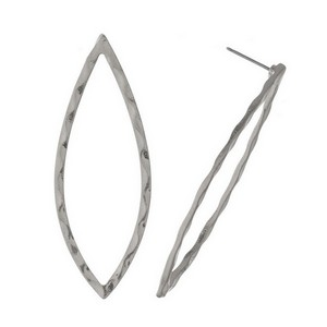 "Hammered, metal stud earrings with an open, elongated oval shape. Approximately 2.25"" in length."