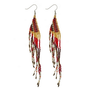 "Silver tone fishhook earrings with a triangle shape and beaded fringe. Approximately 5"" in length."