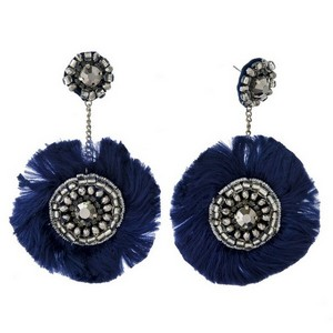 """Statement, stud earrings with clear rhinestones, silver tone beads and thread accents. Approximately 3"""" in length."""