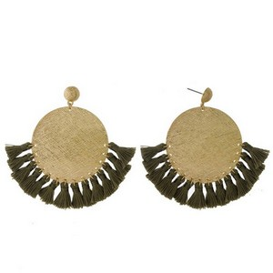 """Gold tone statement earrings with a textured circle shape and thread tassel accents. Approximately 3"""" in length."""