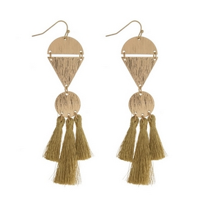 """Gold tone fishhook earrings with hammered geometric shapes and thread tassels. Approximately 4"""" in length."""