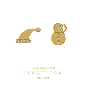 """Secret Box 14 karat gold over brass snowman and Santa hat, Christmas stud earrings. Approximately 1/4"""" in size."""