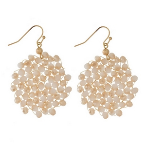 """Gold tone fishhook earrings with wire wrapped, faceted beads in a circle shape. Approximately 1.75"""" in length."""