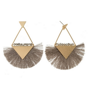 "Gold tone stud earrings with triangle shapes, a fanned thread tassel, and beaded accents. Approximately 3"" in length."