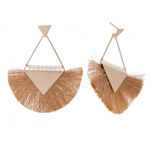 "Rose gold tone stud earrings with triangle shapes, a fanned thread tassel, and beaded accents. Approximately 3"" in length."