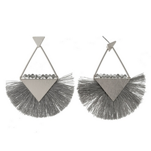 "Silver tone stud earrings with triangle shapes, a fanned thread tassel, and beaded accents. Approximately 3"" in length."