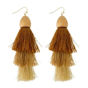 "Gold tone, fishhook earrings with a large, ombre, statement tassel. Approximately 4"" in length."