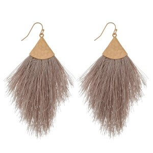 "Gold tone fishhook earrings with a soft, thread tassel. Approximately 3"" in length."