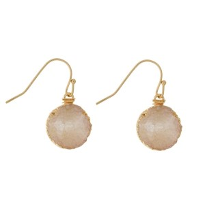 "Gold tone fishhook earrings with a circle shaped, faux druzy stone. Approximately 3/4"" in length."